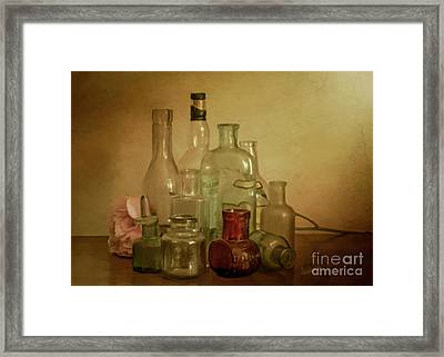 Bottles And A Peony Framed Print