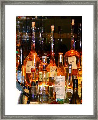 Bottles At The Modern Framed Print by Angela Annas