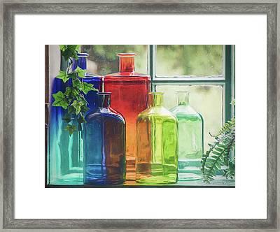 Bottles In The Window Framed Print