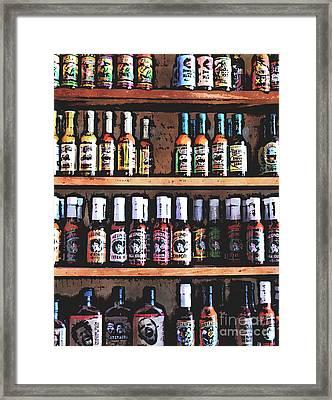 Bottles Of Hot Sauce Framed Print