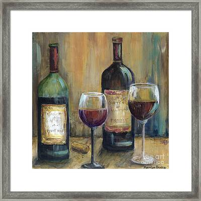 Bottles Of Red Framed Print by Marilyn Dunlap