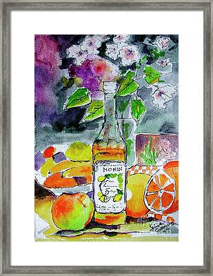 Bottles Still Life With Fruit And Bottle Framed Print by Ginette Callaway