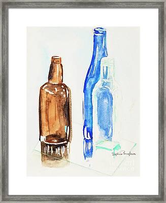 Bottles Watercolour Framed Print