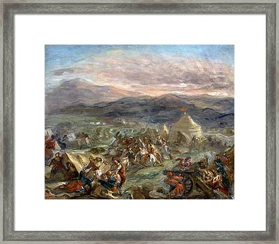 Botzaris Surprises The Turkish Camp And Falls Fatally Wounded Framed Print by Eugene Delacroix