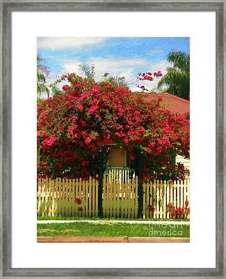 Bougainvillea Cottage By Kaye Menner Framed Print by Kaye Menner