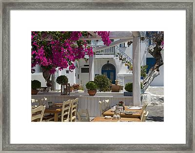 Bougainvillea Growing Around A Taverna Framed Print