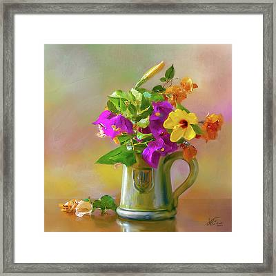 Bougainvilleas In A Green Jar. Framed Print