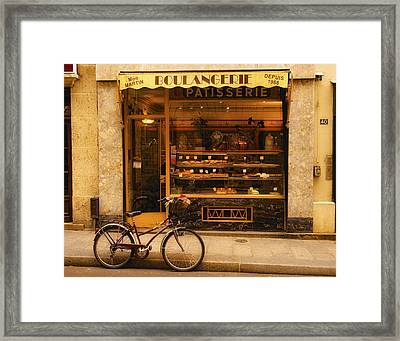 Boulangerie And Bike Framed Print