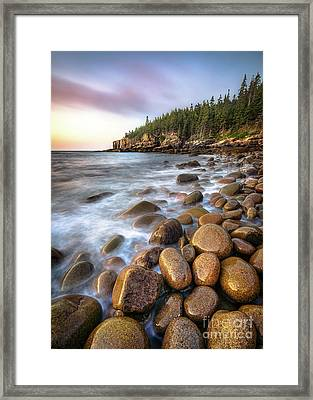 Boulder Beach Acadia Framed Print by Benjamin Williamson