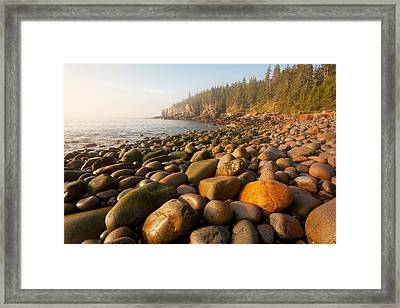 Boulder Beach Acadia National Park Maine Framed Print
