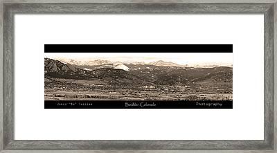 Boulder Colorado Sepia Panorama Poster Print Framed Print