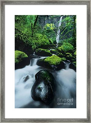 Framed Print featuring the photograph Boulder Elowah Falls Columbia River Gorge Nsa Oregon by Dave Welling