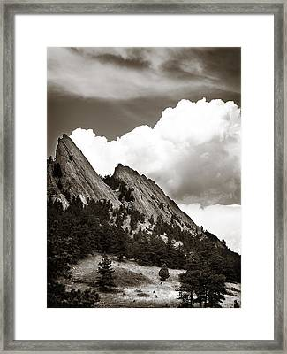 Large Cloud Over Flatirons Framed Print by Marilyn Hunt