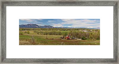 Framed Print featuring the photograph Boulder Louisville Lafayette Colorado Front Range Panorama by James BO Insogna