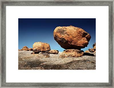 Boulder On Solid Rock Framed Print by Johan Swanepoel