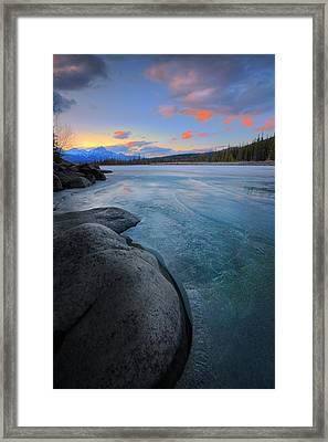 Framed Print featuring the photograph Boulders And Ice On The Athabasca River by Dan Jurak
