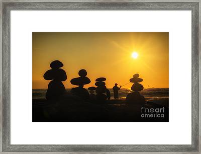 Boulders By The Sea Framed Print
