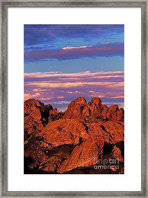 Boulders Sunset Light Pinnacles National Park Californ Framed Print by Dave Welling