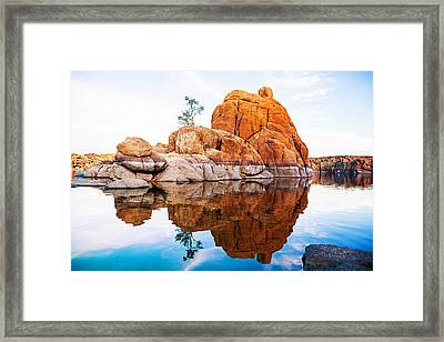 Boulders With Tree In Watson Lake - Arizona Framed Print