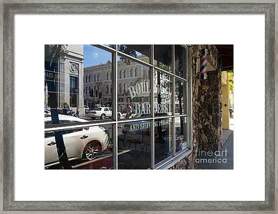 Boulevard Barbers And Shaving Parlor In Petaluma California Usa Dsc3742 Framed Print by Wingsdomain Art and Photography