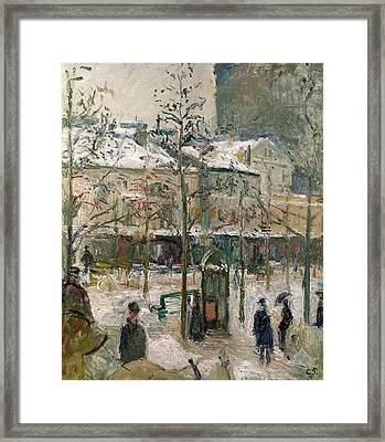 Boulevard De Rocheouart In Snow Framed Print by Camille Pissarro