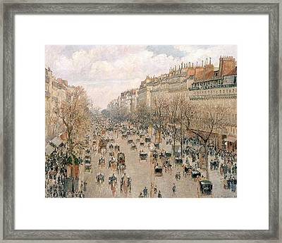 Boulevard Montmartre Afternoon Sun Framed Print by Camille Pissarro