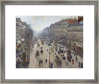Boulevard Montmartre Morning Cloudy Weather  Framed Print by Camille Pissarro