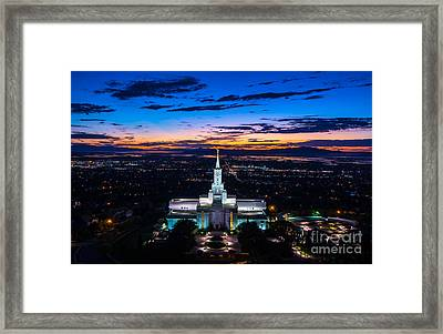 Bountiful Lds Mormon Temple Sunset 2 Framed Print by Gary Whitton