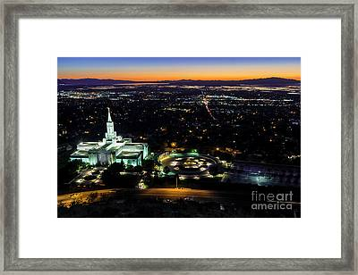 Bountiful Lds Mormon Temple Sunset Framed Print by Gary Whitton