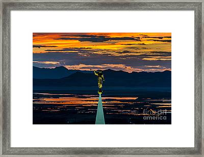 Bountiful Sunset - Moroni Statue - Utah Framed Print by Gary Whitton