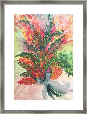 Framed Print featuring the painting Bouquet And Ribbon by Norma Duch