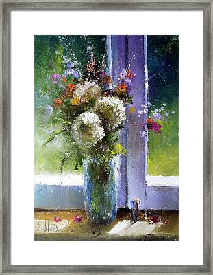 Bouquet At Window Framed Print