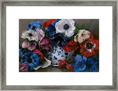 Bouquet D Anemones Framed Print by Kira Weber