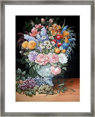 Bouquet In A Crystal Vase Framed Print