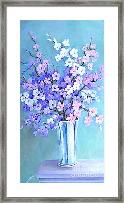Bouquet In Silver Vase Framed Print