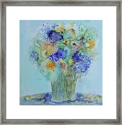 Framed Print featuring the painting Bouquet Of Blue And Gold by Joanne Smoley