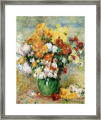 Bouquet Of Chrysanthemums Framed Print by Pierre Auguste Renoir