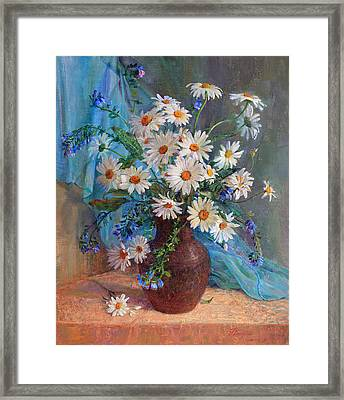 Bouquet Of Daisies In A Vase From Clay Framed Print