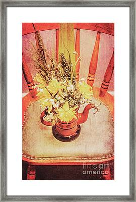 Bouquet Of Dried Flowers In Red Pot Framed Print
