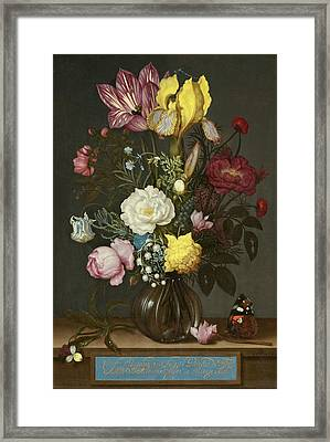 Bouquet Of Flowers In A Glass Vase Framed Print by Ambrosius Bosschaert