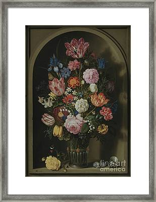 Bouquet Of Flowers In A Stone Niche Framed Print