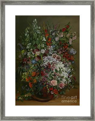 Bouquet Of Flowers In A Vase By Gustave Courbet Framed Print by Esoterica Art Agency