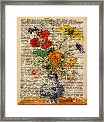 Bouquet Of Flowers Over Dictionary Page Framed Print by Jacob Kuch