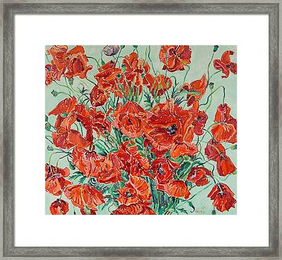 Bouquet Of Red Poppies With Soft-blue Background Framed Print by Vitali Komarov