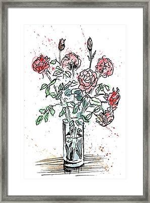 Bouquet Of Roses In A Vase Framed Print by Masha Batkova