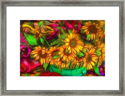 Bouquet Of Sunflowers Framed Print by Jean-Marc Lacombe