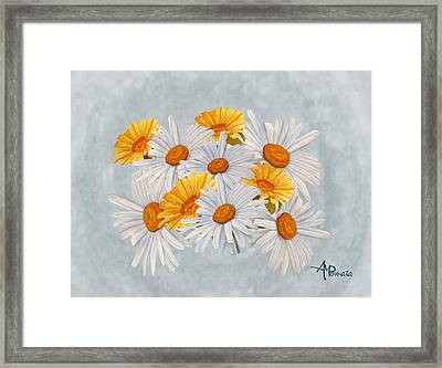 Bouquet Of Wild Flowers Framed Print by Angeles M Pomata