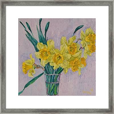 Bouquet Of Yellow Daffodils Framed Print by Vitali Komarov