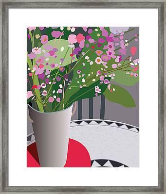 Bouquet On Bistro Framed Print by Marian Federspiel