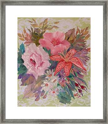 Framed Print featuring the painting Bouquet by Quwatha Valentine